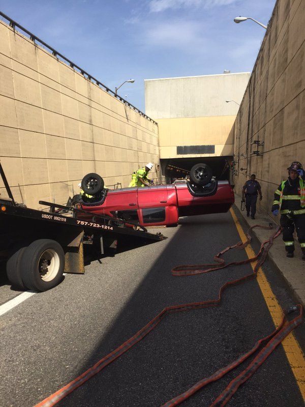 Delays remain after truck overturns in HRBT - Daily Press