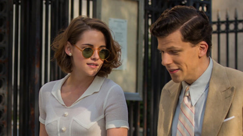 Kristen Stewart as Theresa and Jesse Eisenberg as James in 'Cafe Society.'