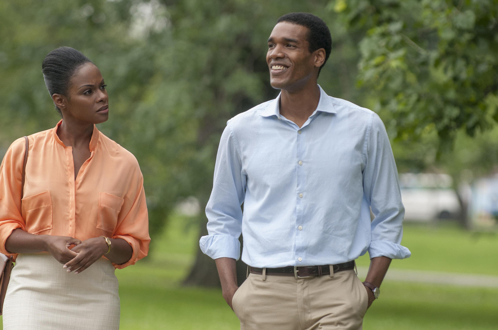 Tika Sumpter as Michelle Robinson and Parker Sawyers as Barack Obama in 'Southside With You.'