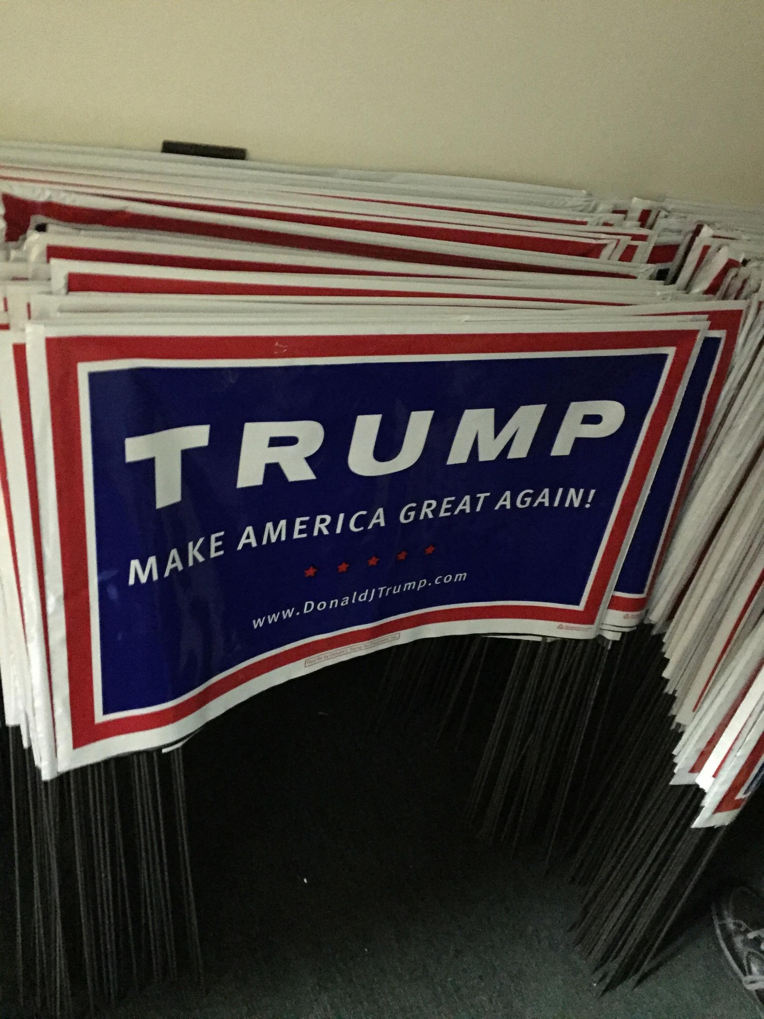 So many people have requested yard signs at Trump headquarters in Monroeville that they have been limited to one per person.