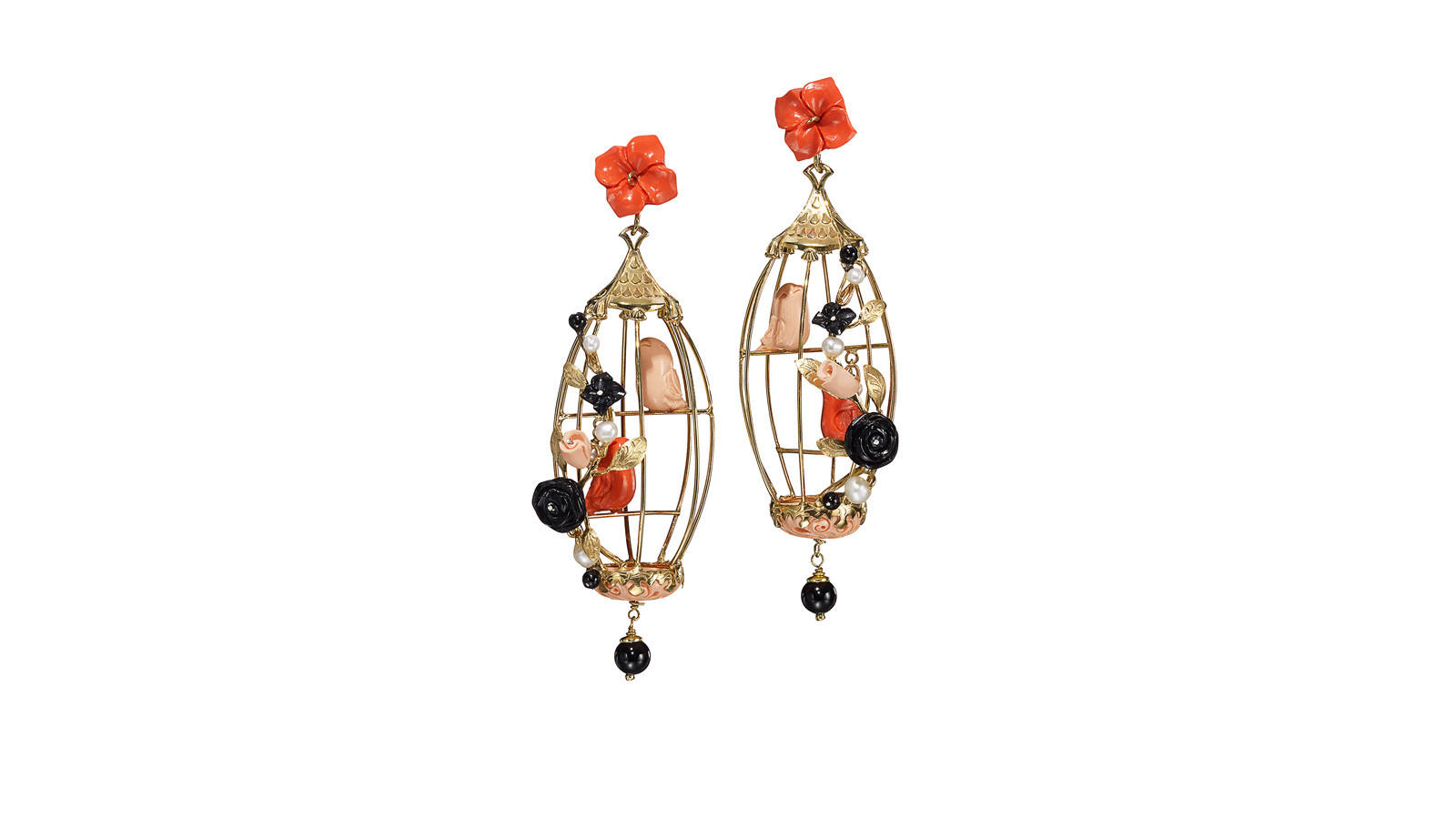 Of Rare Origin Lovebirds Earrings in Coral/Pink/Black, $1,850, (212) 717-9368 ofrareorigin.com