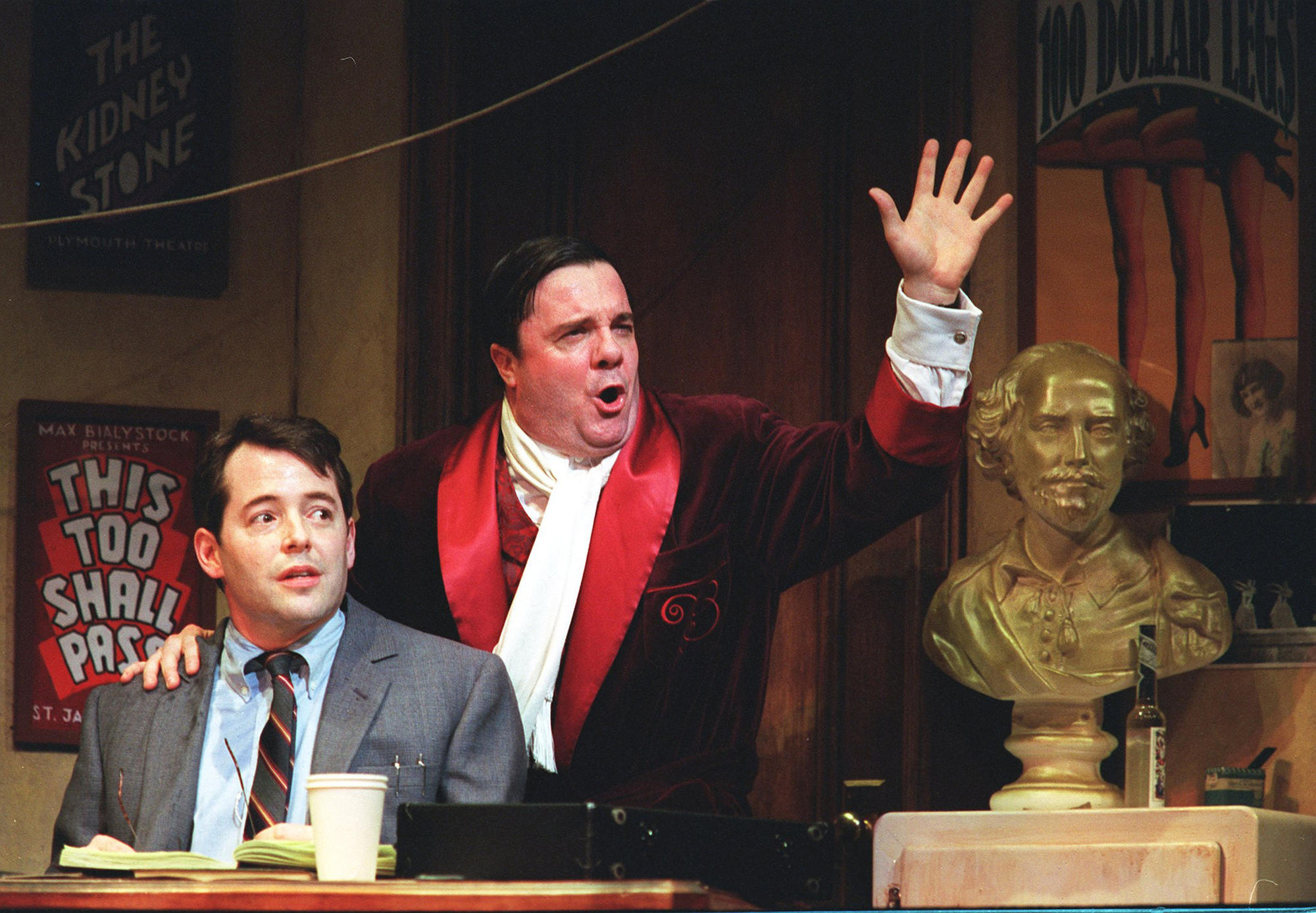 """Matthew Broderick, left and Nathan Lane in """"The Producers"""" in 2001 at the St. James Theatre."""