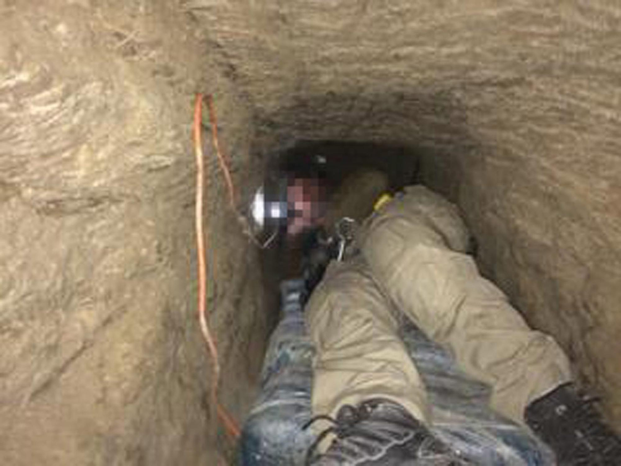 A narrow passageway of what is believed to be the longest cross-border tunnel discovered along the California-Mexico border,