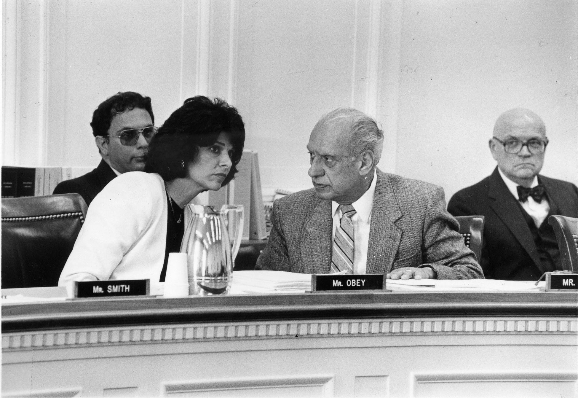 Before she was elected to Congress, Rep. Lucille Roybal-Allard sits in on a House Committee hearing with her father, Rep. Edward Roybal. He served for 30 years and retired just as his daughter took office.