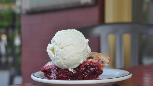 A slice of boysenberry pie with organic triple milk ice cream at the newly opened Mother Moo on Mission in South Pasadena.