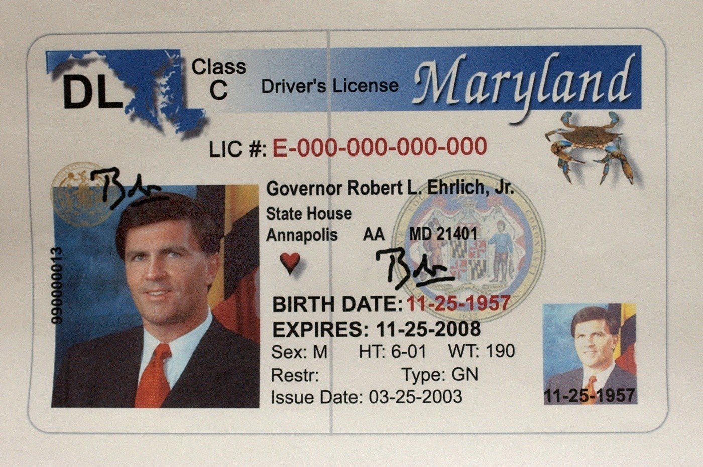 License The Years - Driver's Maryland Baltimore Sun Through