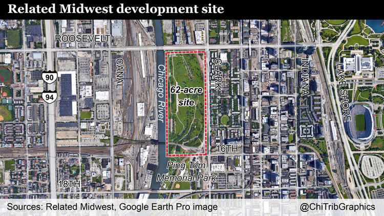 Map: Development site near South Loop and Chinatown