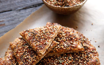 Cracked wheat mana'esh (flatbread with za'atar)