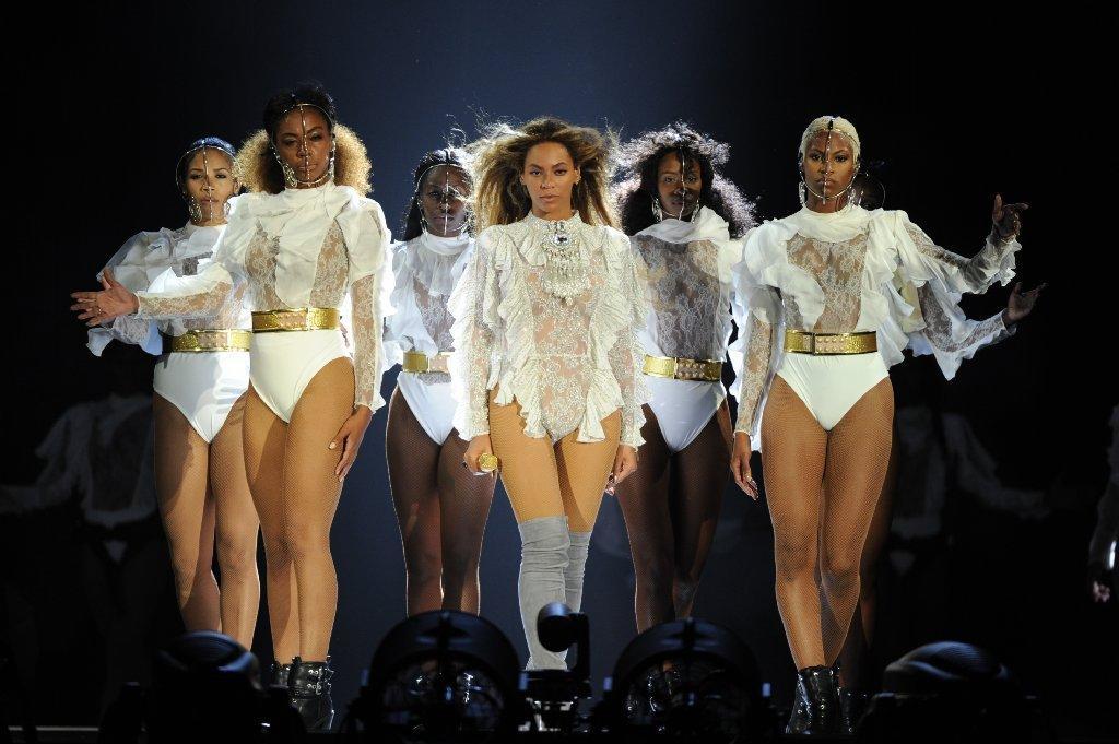 Beyonce wears a custom-made Balmain bodysuit.