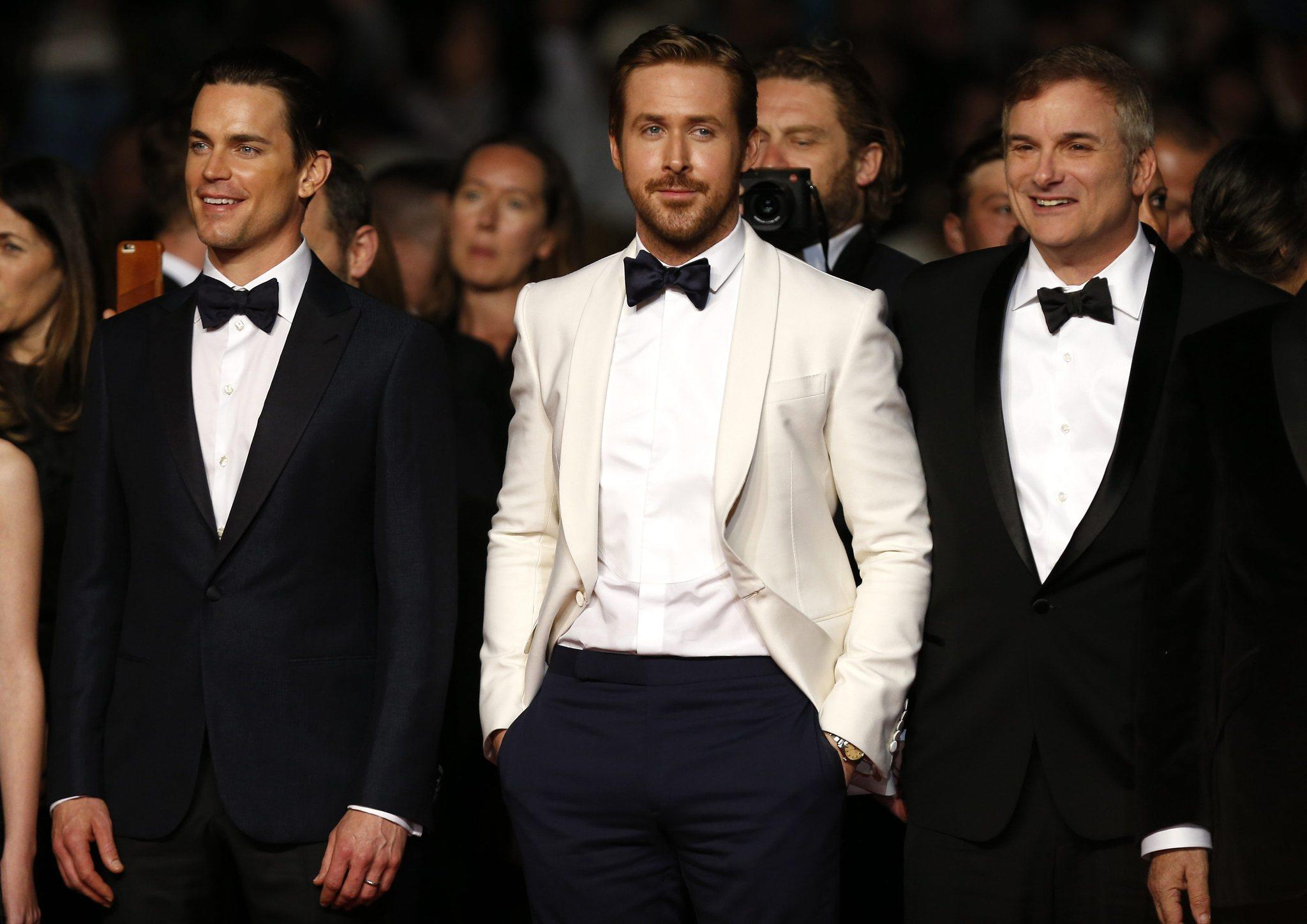 "Actors Matt Bomer, left, and Ryan Gosling and director Shane Black arrive for the screening of ""The Nice Guys"" at the Cannes Film Festival. (Ian Langsdon / European Pressphoto Agency)"