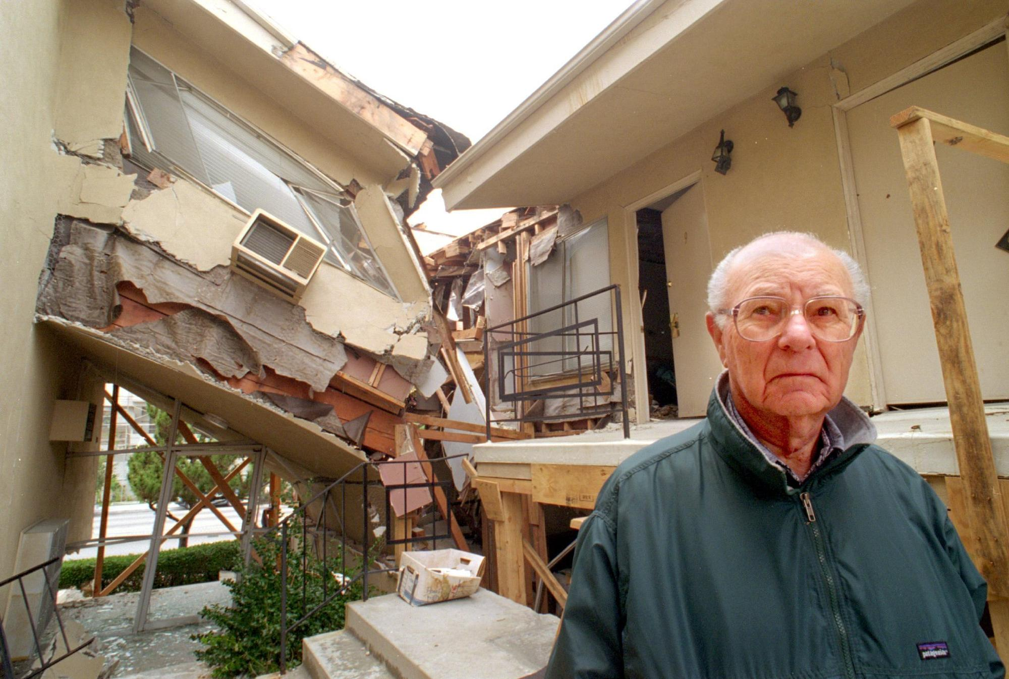After the 1994 Northridge earthquake, Kenneth Shaffer, with one of his Sherman Oaks buildings, says he lost nearly a quarter of the units he had accumulated over a lifetime of investment.