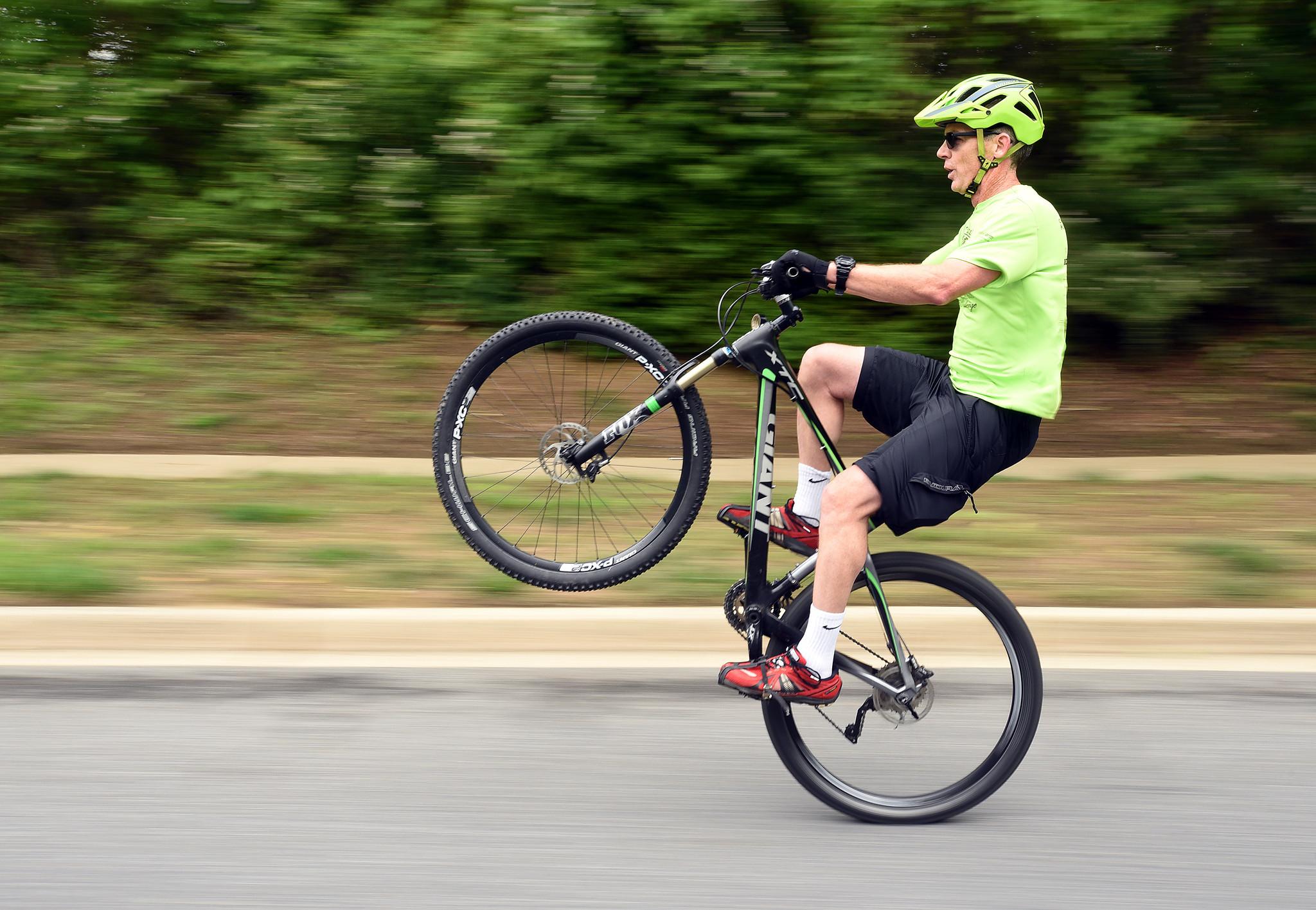 Crofton Man Demonstrates Bike Wheelies Capital Gazette