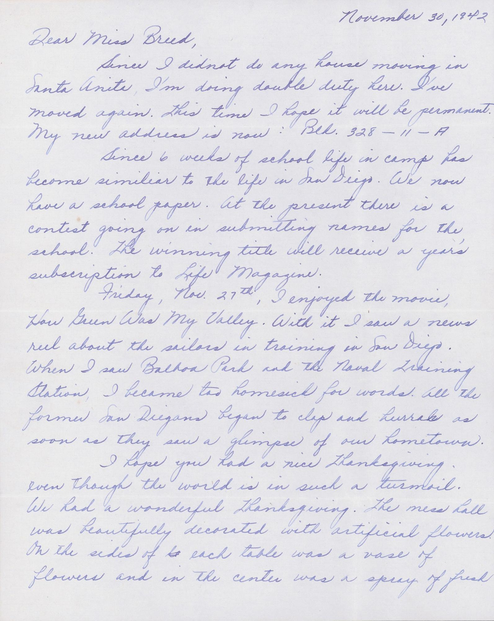 A 1942 letter from Louise Ogawa to Clara Breed