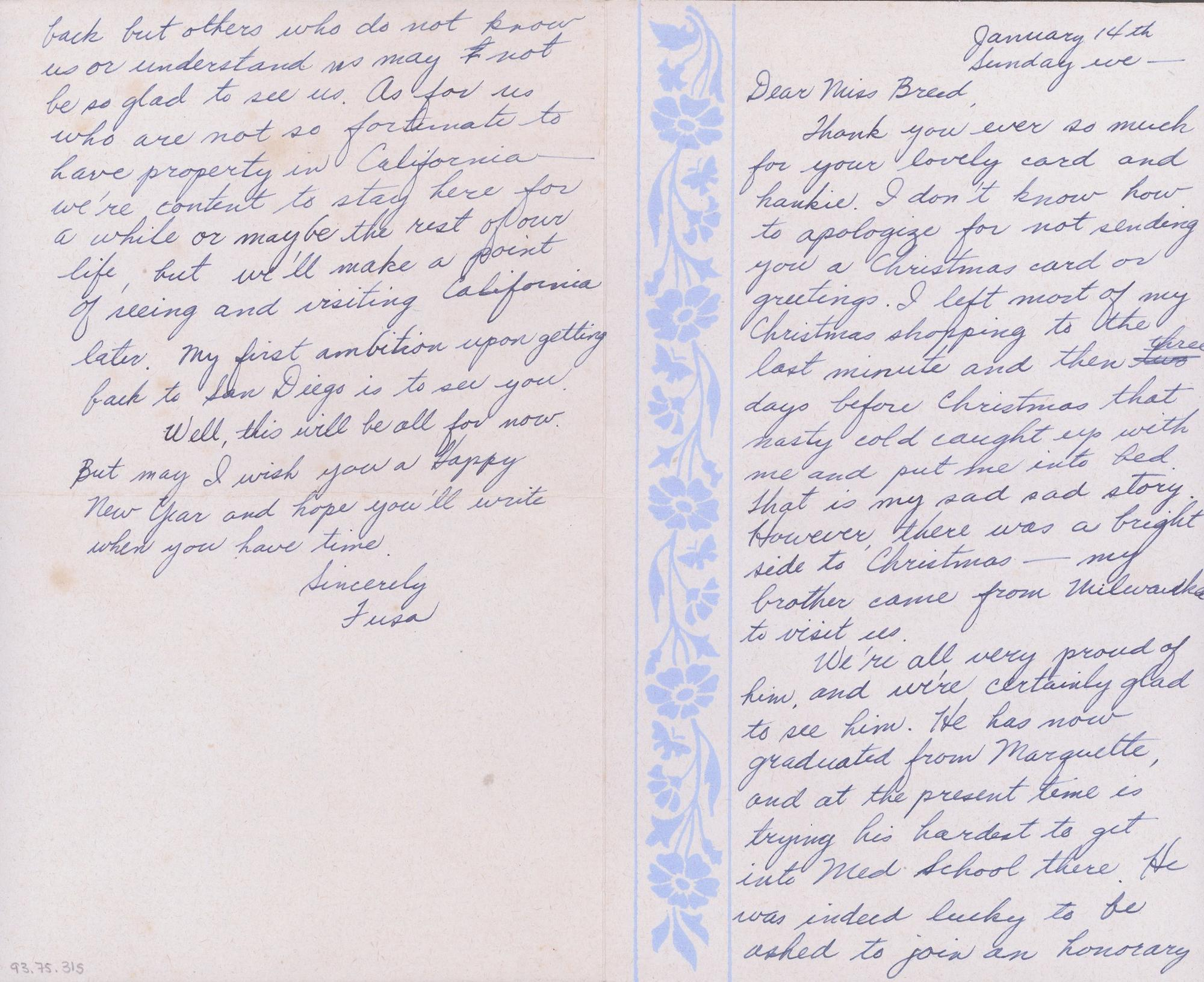 A 1945 letter from Fusa Tsumagari.