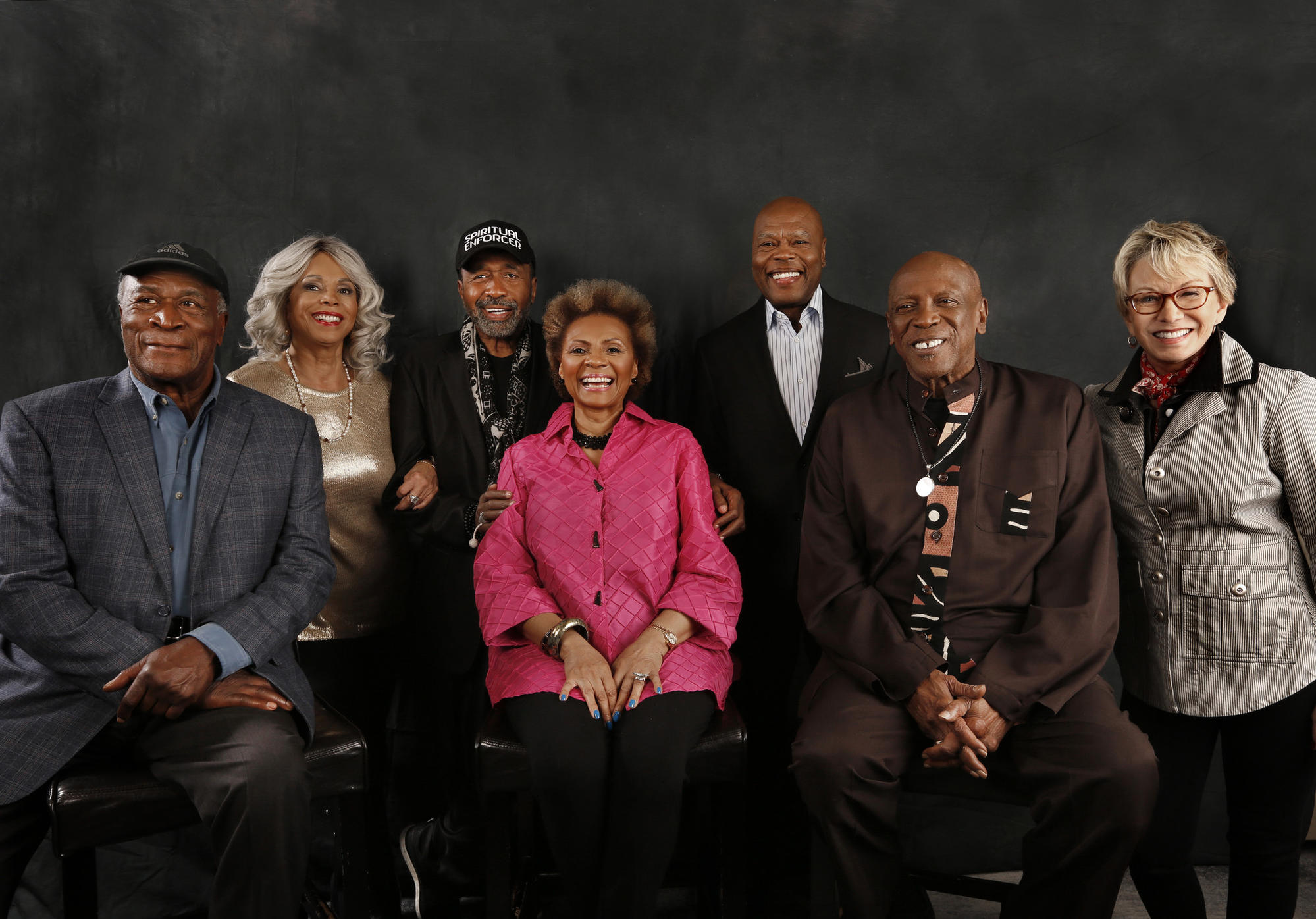 "The cast of the original ""Roots,"" from left: John Amos, Lynne Moody, Ben Vereen, Leslie Uggams, Georg Stanford Brown, Louis Gossett Jr. and Sandy Duncan."