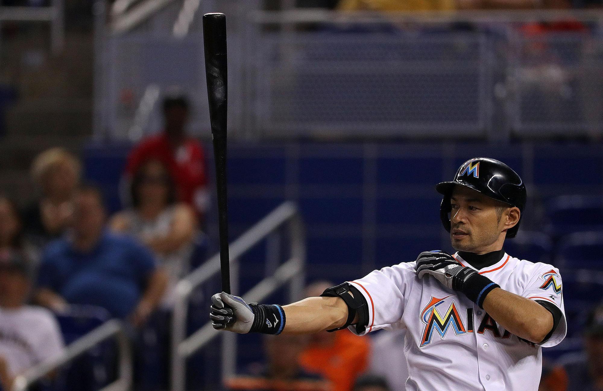 Miami's Ichiro Suzuki bats against Tampa Bay on May 24.