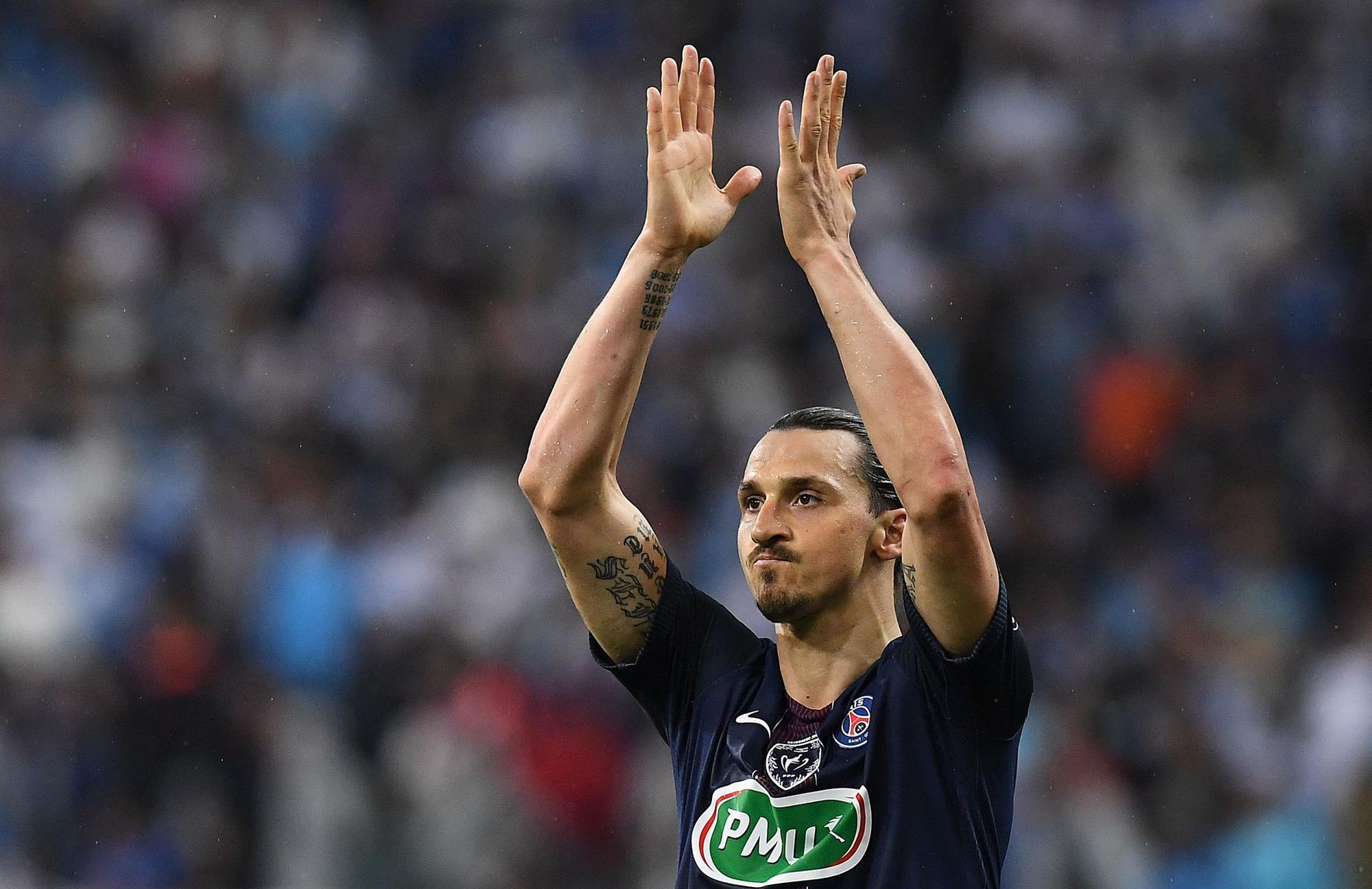 Zlatan Ibrahimovic in the French Cup final between Marseille and Paris Saint-Germain on May 21, 2016, in Saint-Denis, north of Paris.