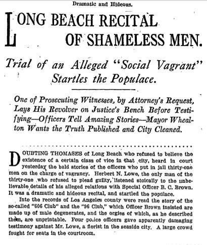 Nov. 19, 1914: Long Beach Recital of Shameless Men.