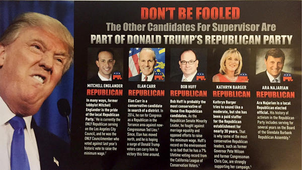 A political mailer sent out by Darrell Park, a Democrat running to replacetermed out Republican Los Angeles CountySupervisorMichael D. Antonovich.