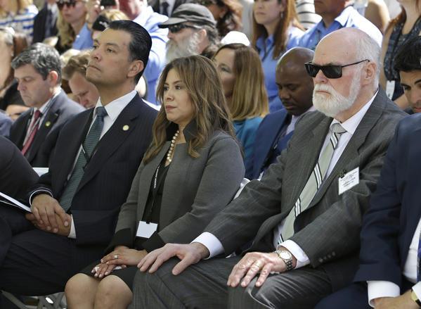 Assemblywoman Nora Campos (D-San Jose), center, is challenging Sen. Jim Beall (D-San Jose), right.