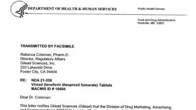 FDA's first warning letter to Gilead