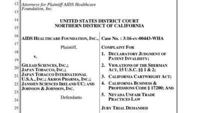 AIDS Healthcare Foundation lawsuit vs. Gilead