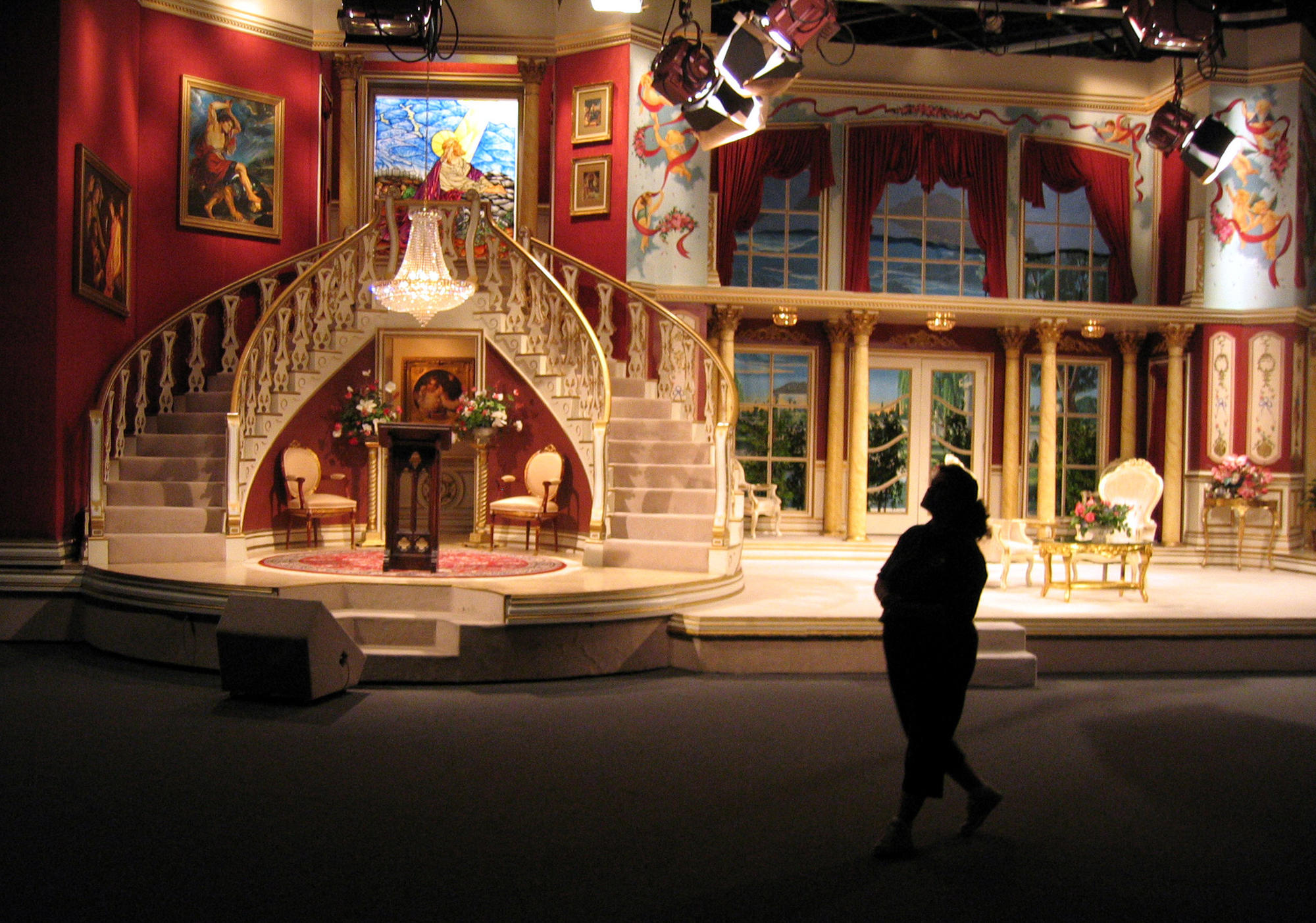 Trinity Broadcasting Network's International Production Center in Irving, Texas, showing one the sets used in television production.
