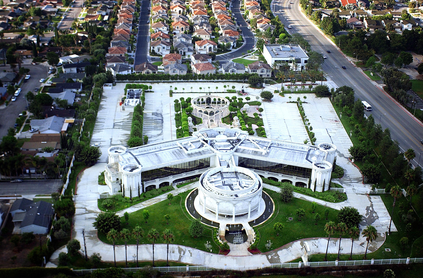 Aerial view of Trinity Broadcast Network headquarters in Costa Mesa. The lavish TBN site is well known for it
