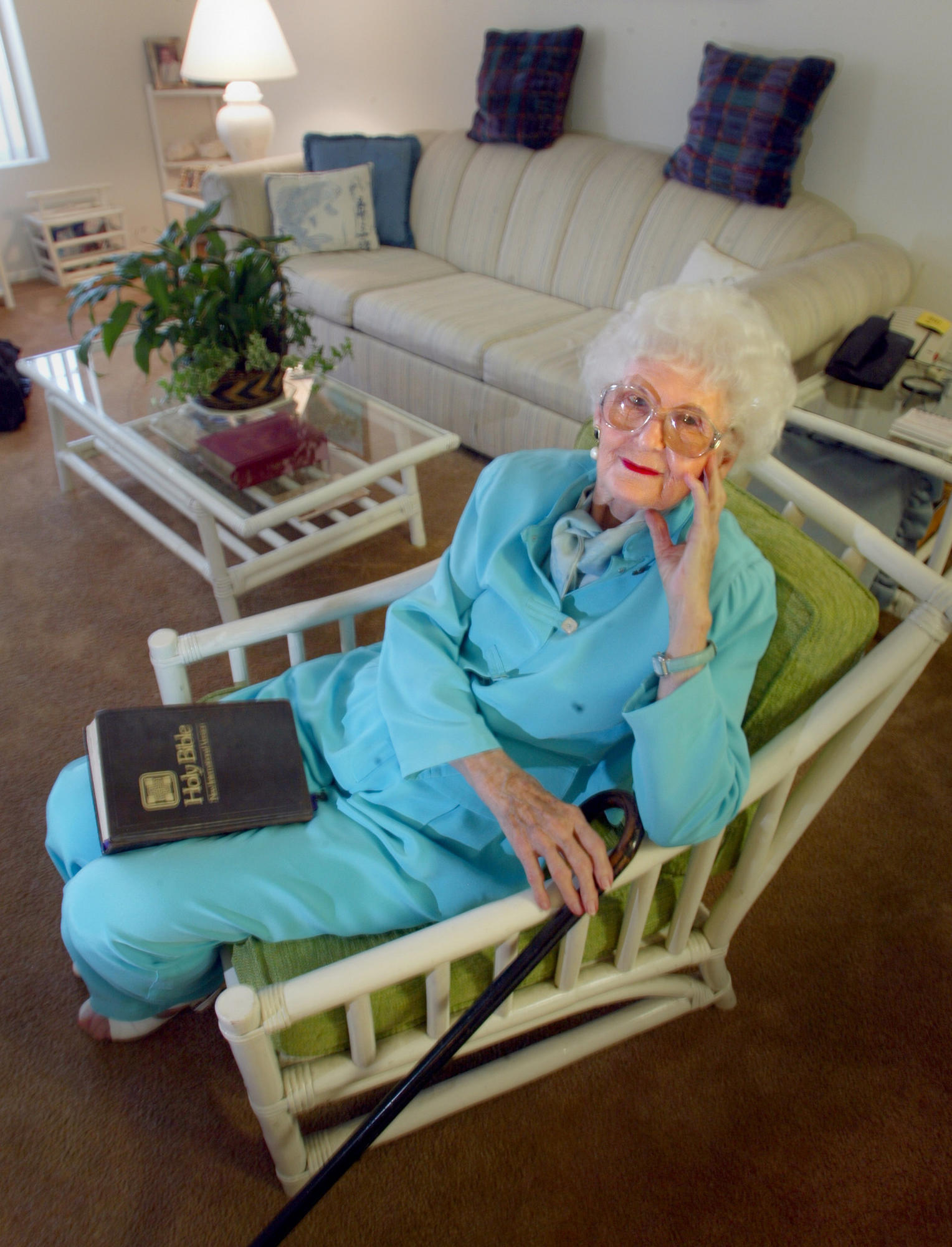 Jeane Fish is an 86–year–old widow, living in Tustin, California who is a loyal Trinity Broadcasting Network viewer and contributor.