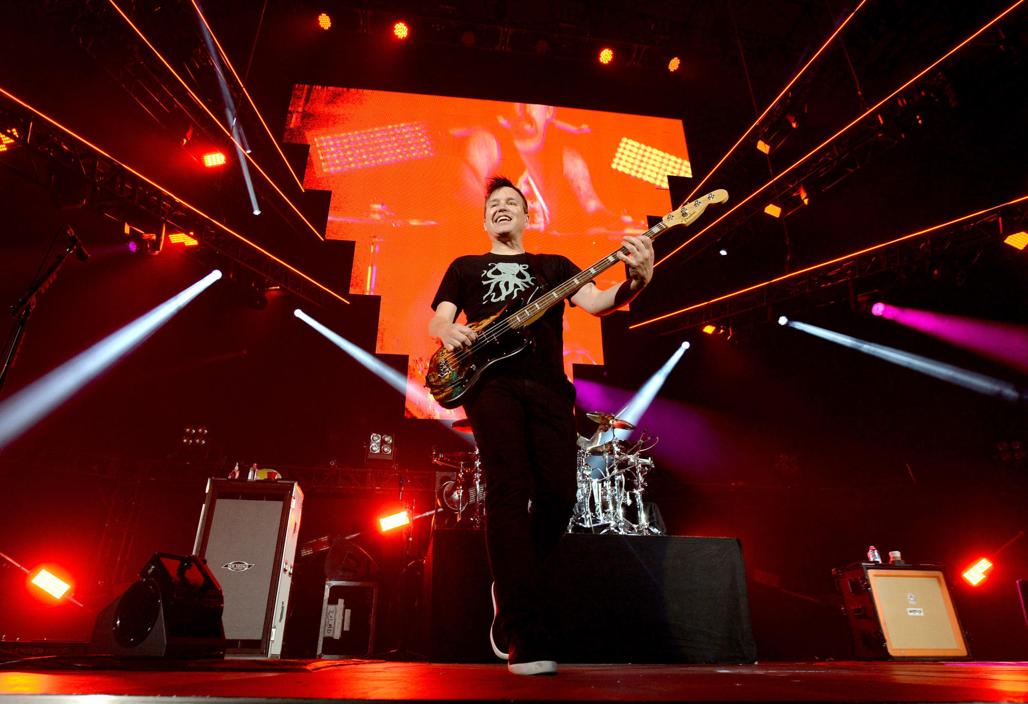 Mark Hoppus of Blink-182 performs at the 2016 KROQ Weenie Roast on May 14.