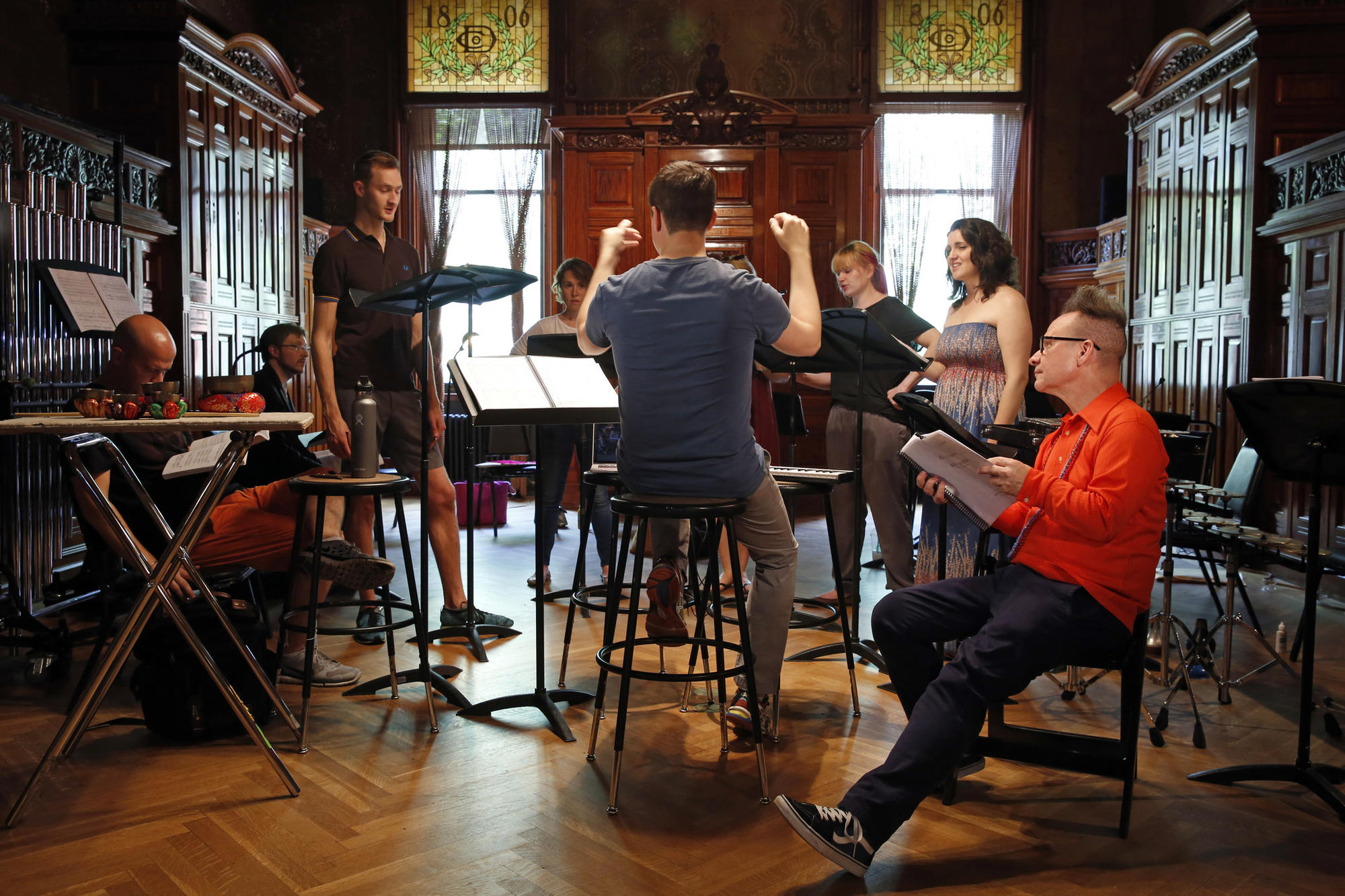 Peter Sellars, far right, in rehearsal in New York for the Ojai festival.