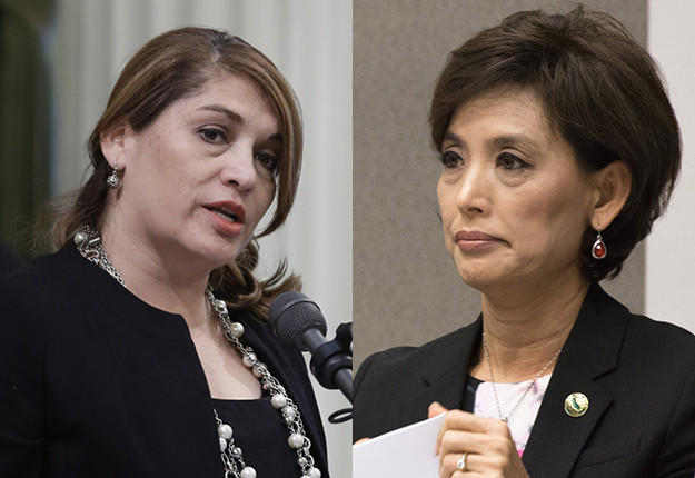 Former Assemblywoman Sharon Quirk-Silva, left, and Assemblywoman Young Kim (R-Fullerton) are battling for District 65.