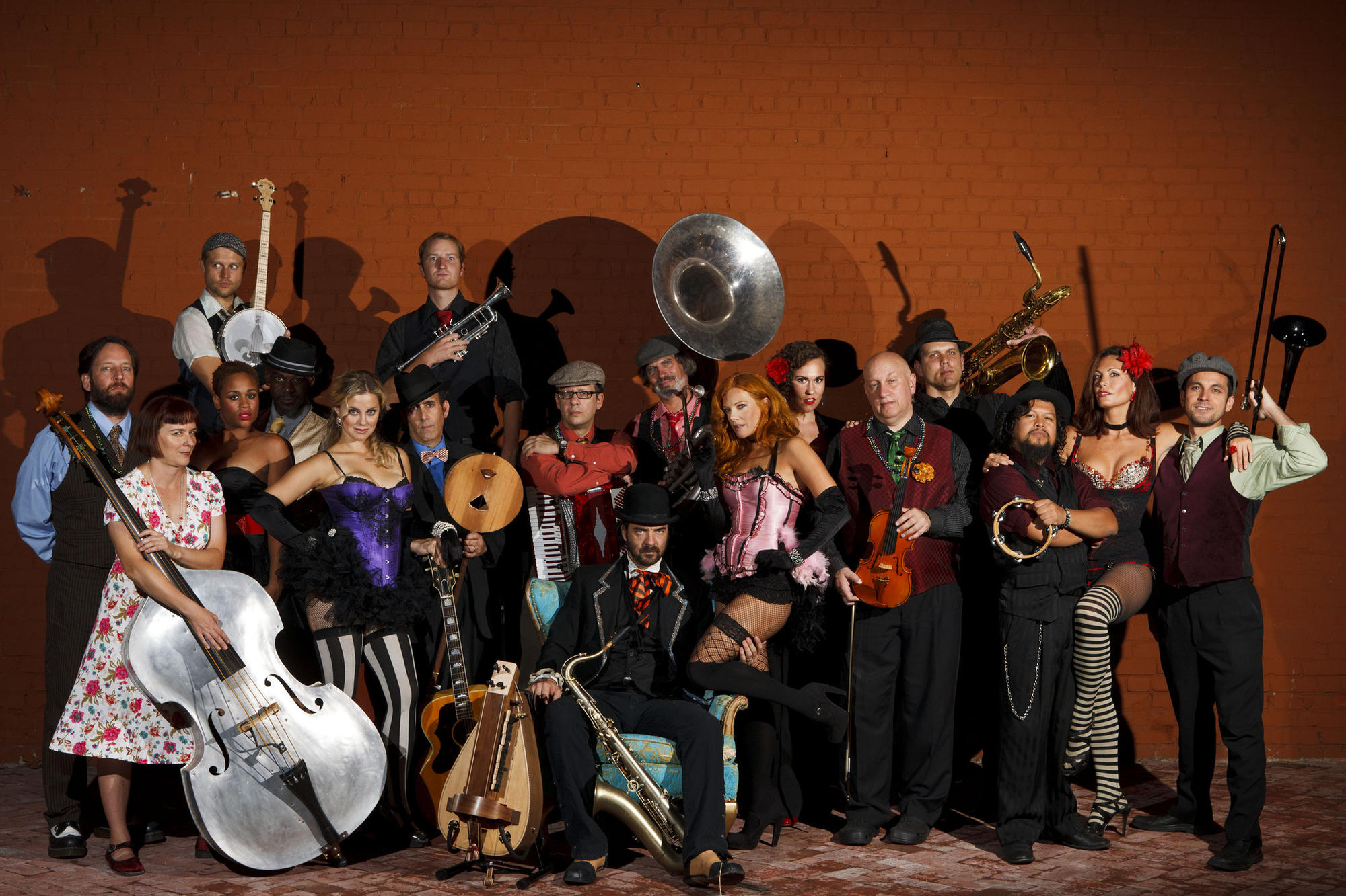 Band leader Vaud Overstreet (aka Andy Comeau), center, poses with his band Vaud & the Villains outside of Cafe Club Fais Do–Do on Sept. 15, 2012 in Los Angeles.