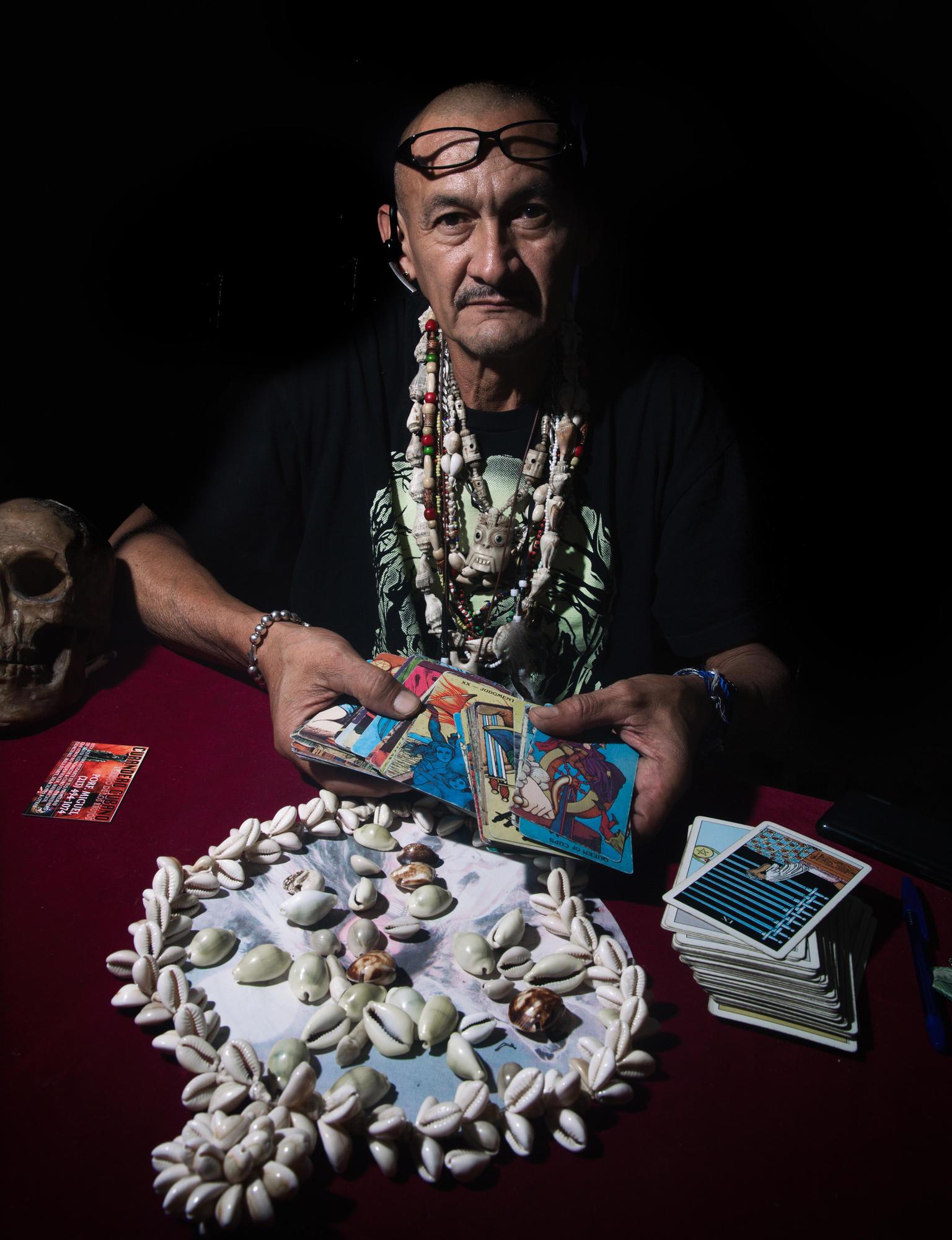 A Babal-Ay (santaria) healer preparing for the divination process.