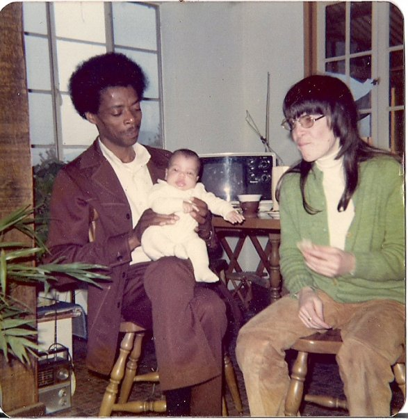 Shannon Luders-Manuel and her parents at their Haight Street apartment, 1977.