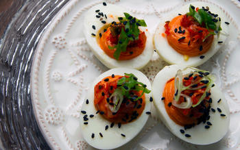 Faith & Flower's deviled Jidori eggs