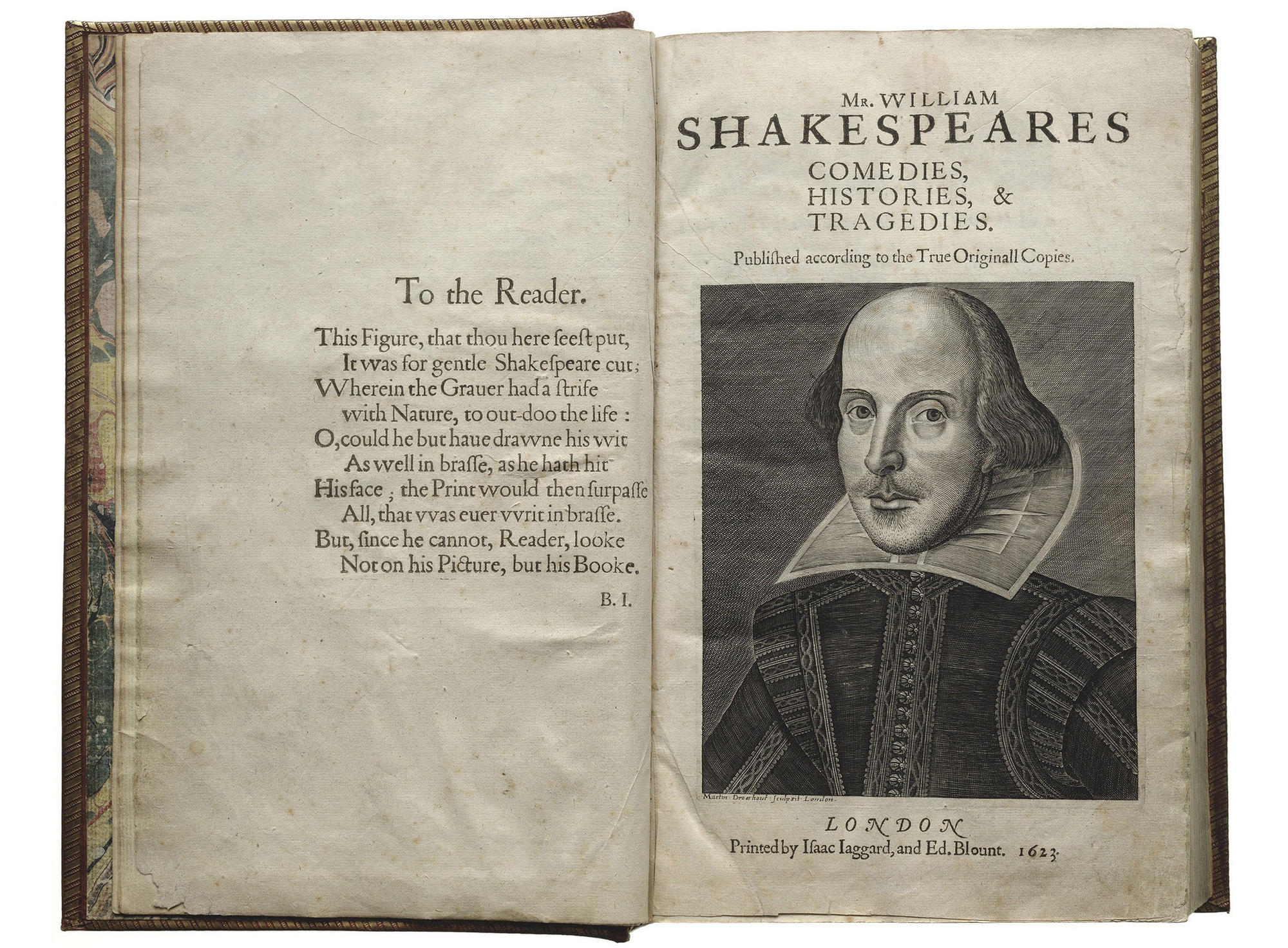 Title page with the Droeshout engraving of Shakespeare in the First Folio from 1623.