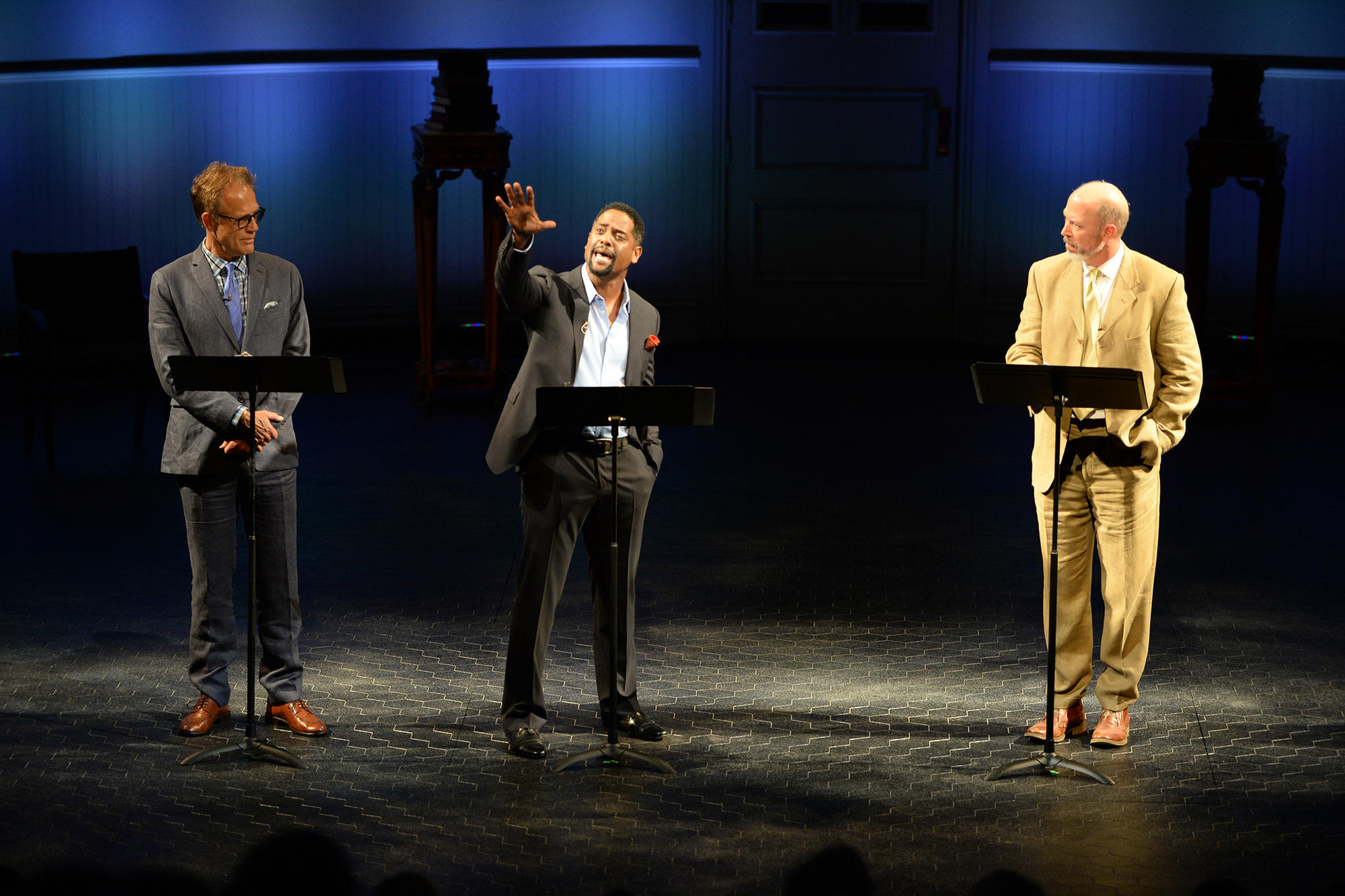 Blair Underwood (flanked by Mark Pinter, left, and Mike Sears) was among luminaries to perform at the Old Globe in San Diego in conjunction with the exhibition of Shakespeare's First Folio.