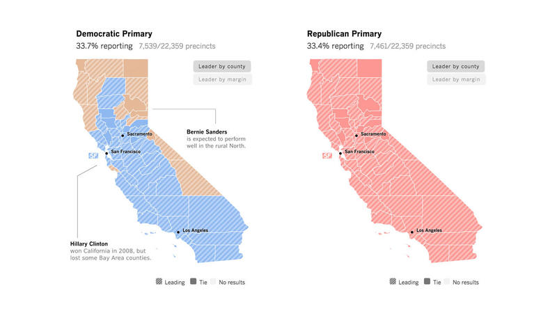 Map Of California Election Results.California Primary 2016 Election Results And Map Los Angeles Times
