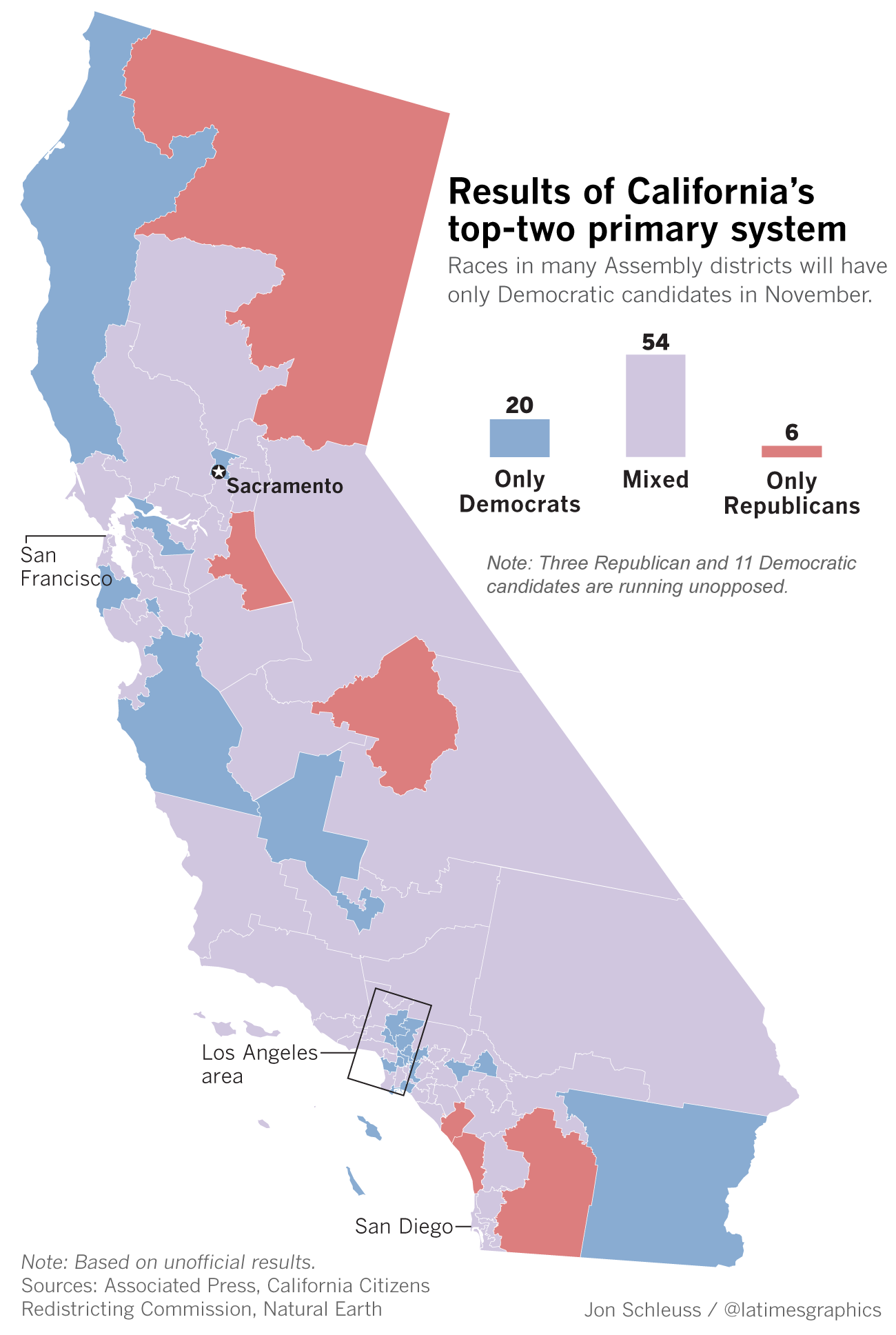 Map of state Assembly races where parties are unopposed in November