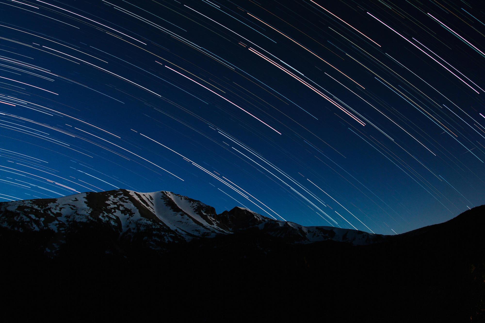 Star trails over Wheeler Peak in Great Basin National Park.
