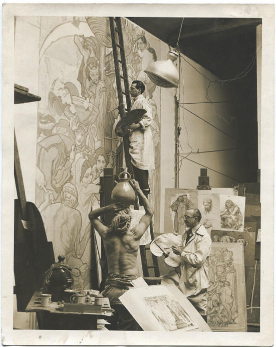 Artist Dean Cornwell started his library murals in London and completed them in Los Angeles.