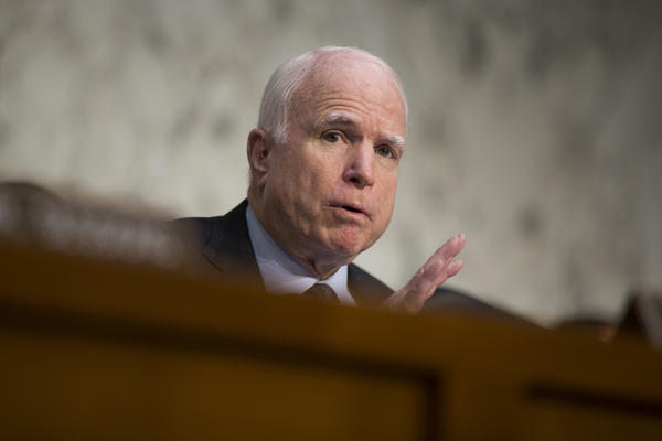 Sen. John McCain speaks on Capitol Hill in April. (Evan Vucci / Associated Press)