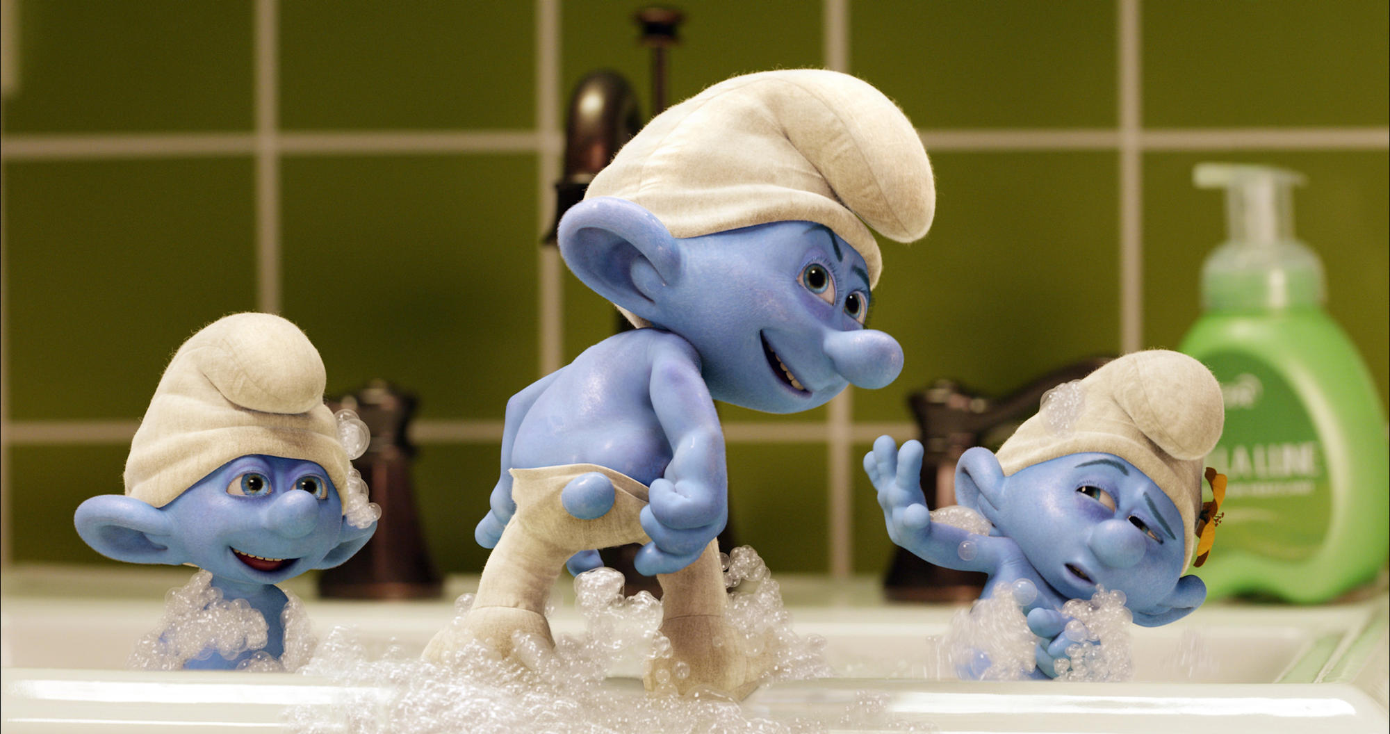"Clumsy (Anton Yelchin), Grouchy (George Lopez) and Vanity (John Oliver) in ""Smurfs 2."""