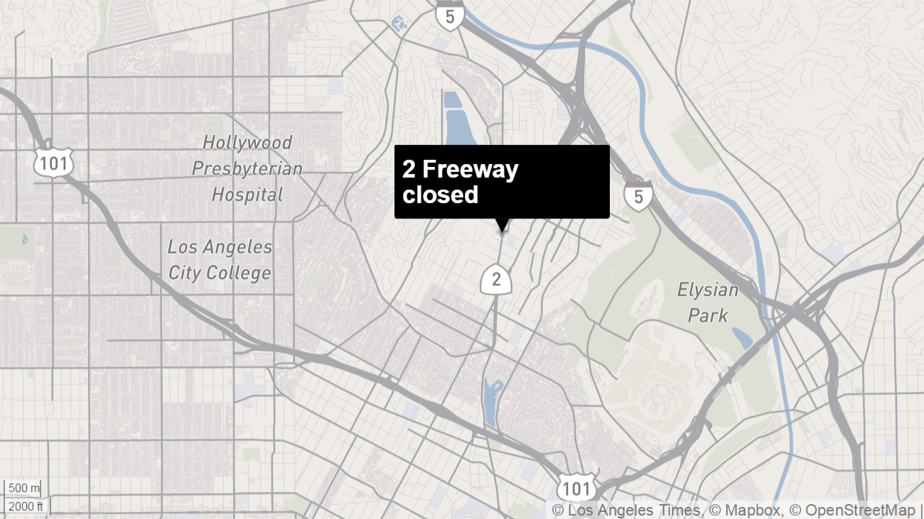 Map shows the approximate location of the freeway closure.
