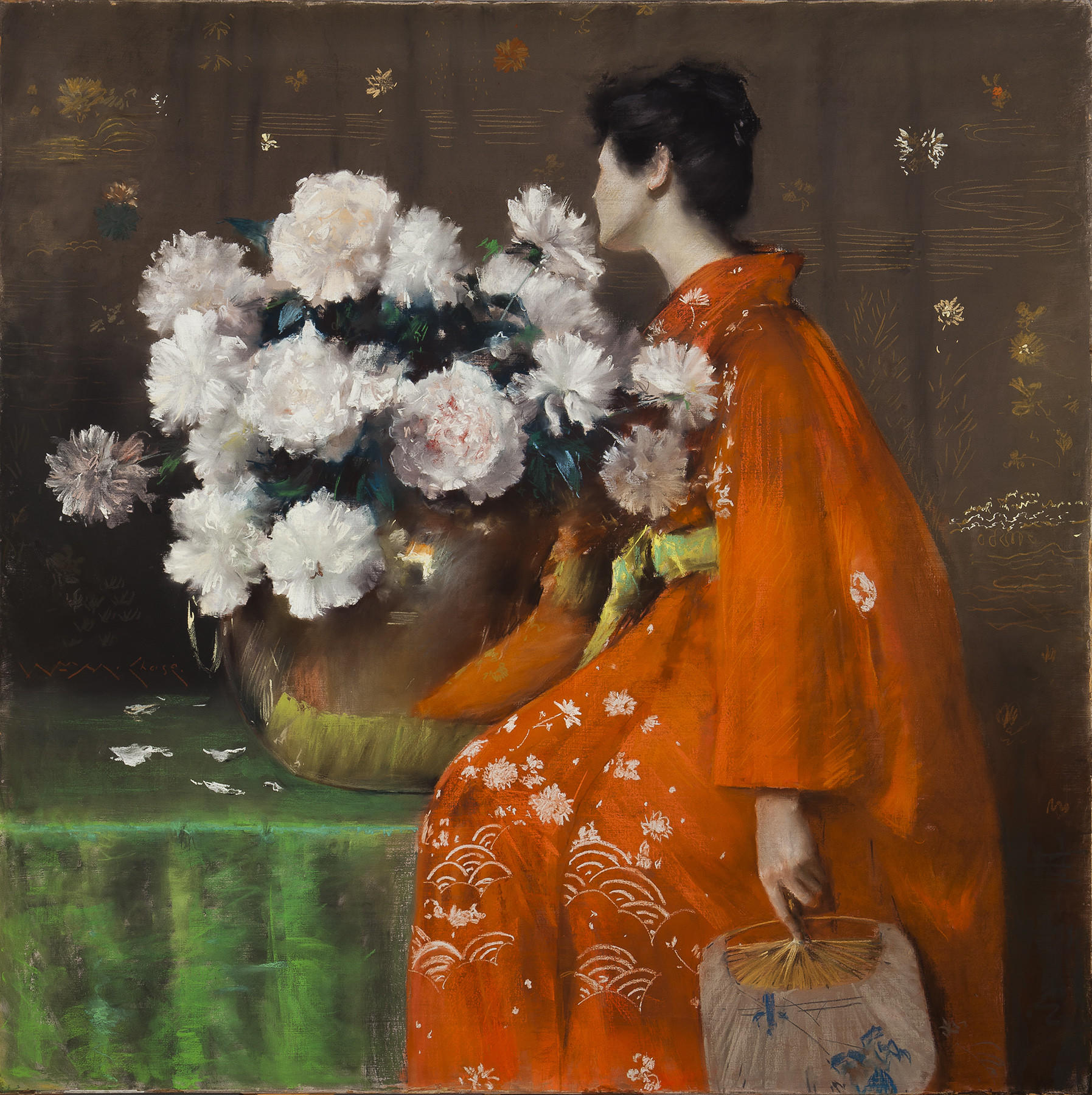 """Spring Flowers (Peonies),"" 1889, pastel on paper, prepared with a tan ground and wrapped with canvas around a wooden strainer, 48 inches by 48 inches."