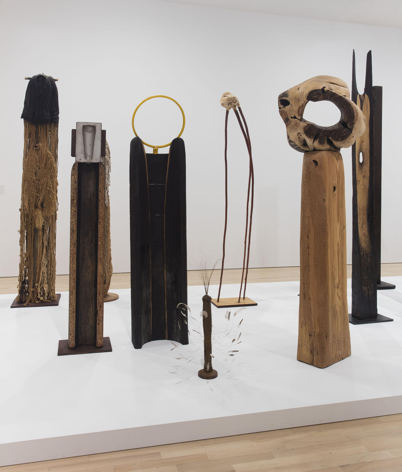 Kenzi Shiokava, installation view of mixed-media totem sculptures