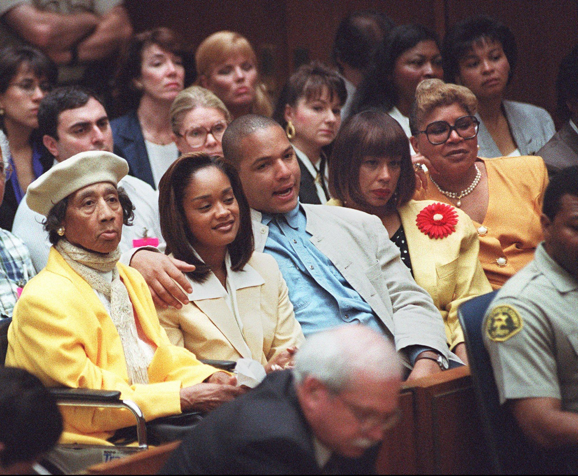 From left: O.J. Simpson's mother, Eunice, daughter Arnelle, son Jason, ex–wife Marguerite Simpson Thomas and sister Carmelita Durio, on July 10, 1995.