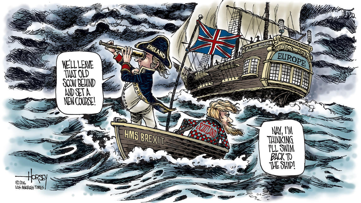 """Brexit"" takes Britain into uncharted, stormy seas. (David Horsey / Los Angeles Times)"