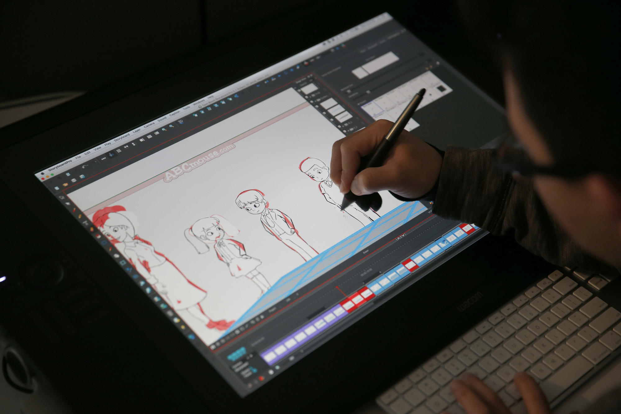 Storyboard artist Jay Chen animates a video for the English-language learning version of ABCmouse.